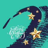 Holiday background with golden stars and handwritten lettering. Calligraphic inscription merry christmas, vector illustration stock illustration