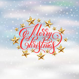 Holiday background with golden stars. And handwritten lettering calligraphic inscription merry christmas, vector illustration eps10 Royalty Free Stock Photo