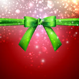 Holiday background with green bow Stock Image