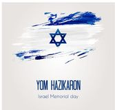 Israel Memorial day background. Holiday background with grunge watercolor imitation flag of Israel. Israel Memorial day Stock Image