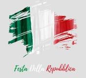 Festa della Repubblica -  Italian Republic Day. Holiday background with grunge watercolor imitation flag of Italy. Festa della Repubblica Italian Republic Day Stock Photography