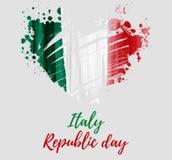 Festa della Repubblica -  Italian Republic Day. Holiday background with grunge watercolor imitation flag of Italy in grunge heart shape. Festa della Repubblica Stock Photography