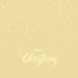 Holiday background with hand drawn words merry christmas and gentle garland Stock Image