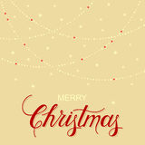 Holiday background with hand drawn words merry christmas and gentle garland Royalty Free Stock Image