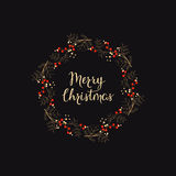 Holiday background with hand drawn words merry christmas in a wreath with berries Royalty Free Stock Images