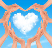 Holiday background with hands making a heart. Valentine's Day. Stock Images