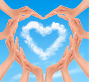 Holiday background with hands making a heart. Valentine`s Day. Vector Royalty Free Stock Images