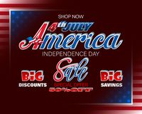 Sales and commercial events of Fourth July, America Independence day. Holiday background with handwriting and 3d texts and national flag colors for Fourth of stock illustration