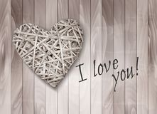 Holiday Background With Heart Made From Willow. Royalty Free Stock Photo