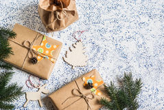 Holiday Background. Homemade Christmas Gifts And Decorations On Light Background Stock Photography