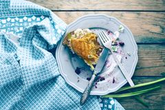 Plate with crumbs after a pumpkin pie. Holiday background image of all that remains of a delicious piece of pumpkin pie. Plate with crumbs and a used fork on Royalty Free Stock Image