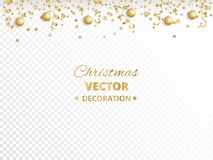 Holiday background. Isolated golden garland border, frame. Hanging baubles and streamers. Falling confetti. For Christmas, New year cards, birthday and wedding royalty free illustration