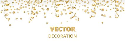 Holiday background. Isolated golden garland border, frame. Hanging baubles, streamers, falling confetti. Holiday background. Isolated golden garland border Royalty Free Stock Photography