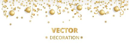 Holiday background. Isolated golden garland border, frame. Hanging baubles, streamers, falling confetti. Holiday background. Isolated golden garland border stock illustration