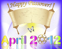 Holiday background of jewish passover. Passover. April 2012 with Star of David and ancient scroll. Vector illustration Royalty Free Stock Photo