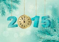 Holiday background with a 2015 made with a clock. Vector Royalty Free Stock Image