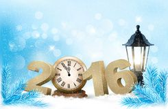 Holiday background with a 2016 made with a clock. Stock Images
