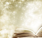 Holiday background with magic book Stock Photography