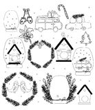 Holiday background with New Year decorations. Drawing of a single-colored Christmas car attributes with a Christmas tree, ball, snow, wreath, mittens on a white Royalty Free Stock Photos