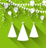 Holiday background with party hats, balloons, confetti, and hang Royalty Free Stock Photo