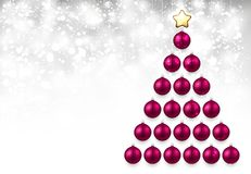 Holiday background with pink Christmas tree. Shining New Year background with pink Christmas balls. Vector illustration Stock Photography