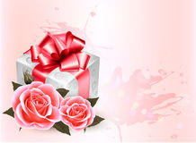 Holiday background with pink roses and gift box. Royalty Free Stock Images