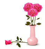 Holiday background with pink roses in a vase. Stock Image