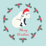 Holiday background with polar bear Stock Images