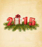 Holiday background with a present and 2015. Stock Photos
