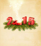 Holiday background with a present and 2015. Vector stock illustration