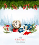Holiday background with presents. Stock Photo