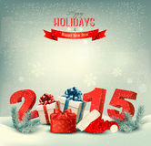 Holiday background with presents and a 2015. Vector Stock Photography