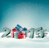 Holiday background with presents and 2015. Royalty Free Stock Photo