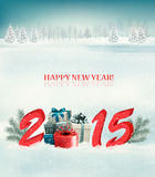 Holiday background with presents and 2015. Vector Royalty Free Stock Photos