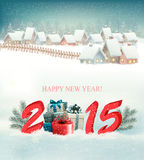 Holiday background with presents and 2015. Vector Royalty Free Stock Image
