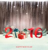Holiday background with presents and 2016. Stock Photography