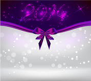 Holiday background with purple bow ribbon. New year 2014 holiday shiny background with purple bow ribbon Stock Image