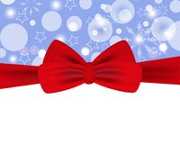 Holiday background with red bow for Christmas and New Year. Design for posters, banners or cards. Vector. Illustration Royalty Free Stock Photo