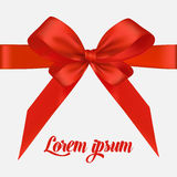 Holiday background with red bow and ribbon. Vector Royalty Free Stock Photo
