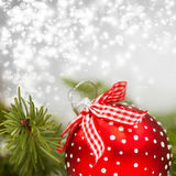 Holiday background with red Christmas balls Royalty Free Stock Image
