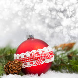 Holiday background with red Christmas balls Stock Images