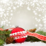 Holiday background with red Christmas balls Stock Photo