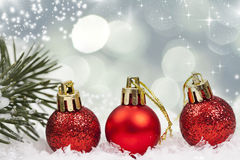 Holiday background with red Christmas balls Royalty Free Stock Photo