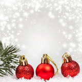 Holiday background with red Christmas balls Royalty Free Stock Images