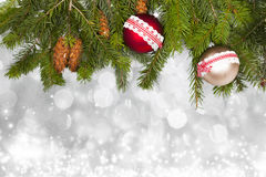 Holiday background with red Christmas balls Royalty Free Stock Photos