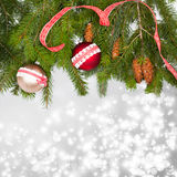 Holiday background with red Christmas balls Royalty Free Stock Photography