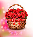Holiday background with red flowers and basket and red ribbon. Stock Photo