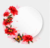 Holiday background with red flowers and butterflies. Royalty Free Stock Photos
