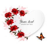 Holiday background with red flowers and butterfly. Stock Photos