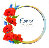 Holiday background with red flowers. Stock Photo